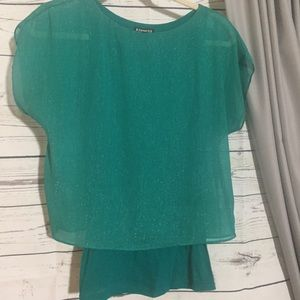 Express Shimmer Overlay Blouse Teal